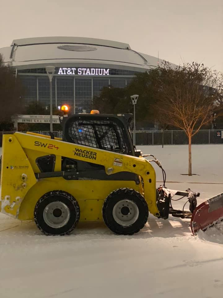 Snow Plow outside of Cowboy stadium.