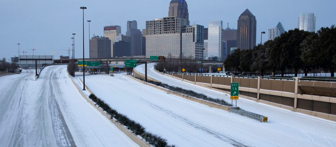 Dallas snow skyline