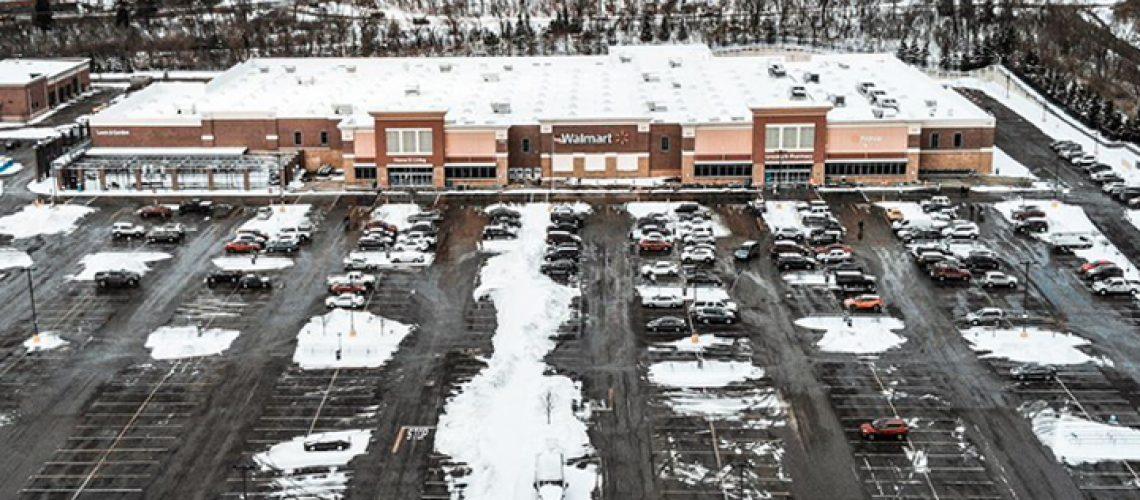 Aerial view of Walmart.